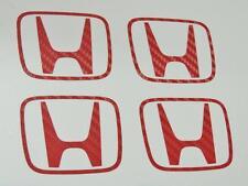 Honda 4 x rouge carbone H centre cap autocollants decal Civic FN2 Type R K20 JDM OEM