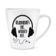Los auriculares en mundo fuera 12oz café con leche Taza Taza-Música