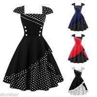 Women's Polka Dot Rockabilly Classic Style Vintage 1950s Swing Party Tea Dress