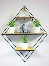 Retro Diamond Metal Hanging Shelf Wall Mounted Display Unit Metal Frame Rack