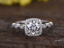 1.24 Ct Round Cut Diamond Engagement Ring 9K White Gold Wedding Rings Size M