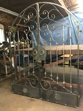 Tuscan Old World Iron Arched Scroll Garden/Wine Cellar Gate 5ft. Wide