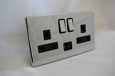 4x Polished Chrome Double USB Wall Socket 2 GANG