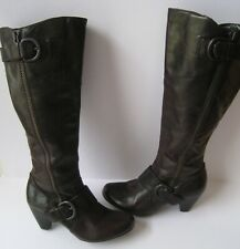 BORN CROWN BROWN LEATHER WIDE CALF KNEE HI BOOTS size US 10 HOT MUST HAVE