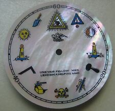 GENUINE VINTAGE MASONIC MOP DIAL FOR TRIANGULAR POCKET WATCH dia 28.85 mm NOS