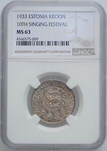 "Estonia 1 kroon 1933, NGC MS63, ""10th Singing Festival"""