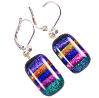 DICHROIC Glass Earrings Purple Rainbow Striped Patterned Euro Lever Dangle 1/2""