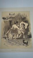 """ANTIQUE WOODCUT VICTORIAN 1872 OLD ART PRINT """"KEEPING HOUSE"""""""