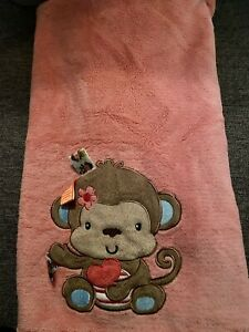 Taggies Monkey Coral Pink Lovey Turquoise Blue Flowers Soft Baby Blanket L27