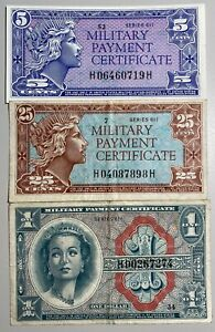 Military Payment Certificate Series 611 5C, 25C and $1