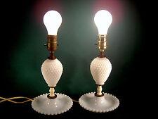 "Pair 15"" Milk Glass Hobnail  Boudoir Night Table Electric Lamps  ""BOTH WORK"""