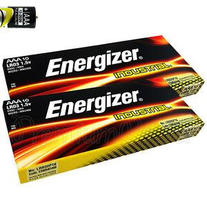 20 x Energizer AAA batteries Industrial 1.5V LR03 MN2400 Micro AL-Mn