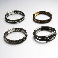 New Mens Handmade Leather Braided Surfer Wristband Bracelet Bangle Wrap Jewelry