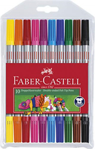 Faber-Castell Double-Ended Felt Tip Colouring Pens - Set of 10 - NEW