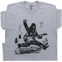 Guitar T Shirt Bigfoot Jump Playing Electric Mens Graphic Vintage Sasquatch Rock