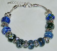 New Handmade Swarovski Crystal Silver-Plated Blue Floral Beaded 8 in Bracelet
