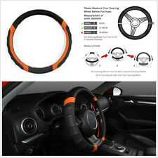 "38CM/15"" Microfiber Leather Car SUV Steering Wheel Protector Cover Orange&Black"