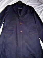 $395 NWT Scott James 40 eu50 navy pinstripe wool coat unlined duster tkt pkt Med