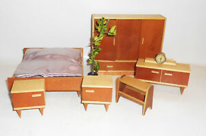 Casa de Muñecas Mueble 50er Años Dormitorio Aparador Armario Cama Planta Vintage