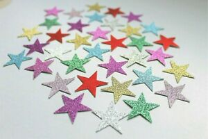 50 SPARKLY STARS CARD MAKING CRAFT EMBELLISHMENTS SCRAPBOOK MULTICOLOURED