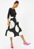 COAST NEW Solid Bodice Black & White Spot Print Full Midi Dress Sizes 6 to 18