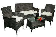 Andria - Set di mobili da giardino in ecorattan e piano del tavolo in vetro.
