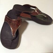 ELECTRA CLASSIC SEQUIN FIT FLOPS Sandals Flip Flops Shoes Brown Sz 8 Fitflop