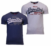 Superdry Mens VL Premium Goods Short Sleeve Crew Neck Print T-Shirt Blue Grey