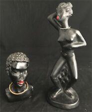 Buste Statuette Femme Africaine Platre Vintage Plaster Figurine Design Ancien