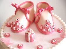 "Edible Baby Girl Shoes ""Flower"" Set Birthday / Baby sh Handmade Sugarpeste"