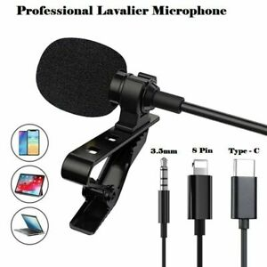 Microphone 3.5mm For Mobile Phone PC Recording Clip-on Lapel Mini Lavalier Mic