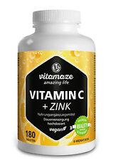 Vitamin C hochdosiert 1000mg Tabletten + Bioflavonoide + Hagebutte + Zink vegan