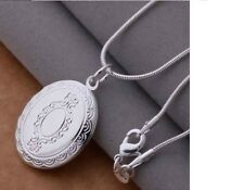 Women's Engraved Silver Filled Photo Locket Pendant Necklace Jewellery Gift UK