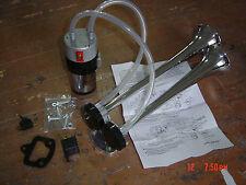 ALTERNATING SOUND Chrome Train Truck Air Horn Kit & Compressor 12v Kit