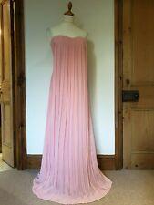 Equivocada Maxi Vestido Plisado Largo Rosa Bustier, Acolchado Top. Talla 8