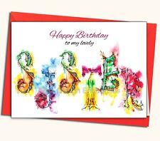 Happy birthday, sister, watercolour, card, handmade