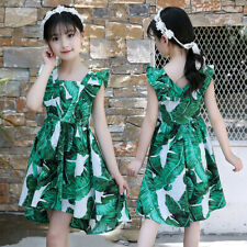 New Kid Teen Children Girls Sleeveless Ruched Summer Party Dress Casual Clothes