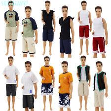 3 Outfit Zufällig Handarbeit Kurzarm Kleid Kleidung Für Barbie Ken Puppe Zubehör