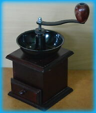 New Wooden Coffee Grinder mill Side Hand Beans Cranked UK Mahogany