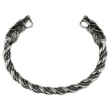 Men's Stainless Steel Viking Wolf Fenrir Norse Cuff Bracelet Bangle