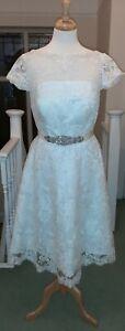 Boho 50s 60s vintage style short pearl ivory lace wedding dress size 14