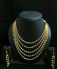 Panassh fashion gold plated South Indian 5 line ball chain necklace with earring