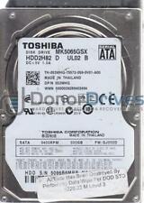 MK5065GSX, GJ002D, HDD2H82 D UL02 B, Toshiba 500GB SATA 2.5 Hard Drive