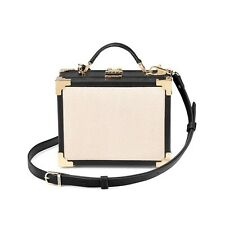 Aspinal De Cuero London Damas Mini tronco Clutch Bag en Blanco y Negro Mix.