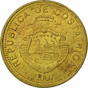 [#441304] Coin, Costa Rica, 25 Colones, 2007, EF(40-45), Brass plated steel