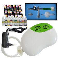 Compresor Aerógrafo juego pintura Mini Aerógrafo Kit pistola Stencils Colores Arte en Uñas