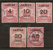 LABUAN 1895 SURCH SET SG75/79 FINE USED