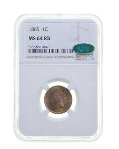 MS64 RB 1865 Indian Head Cent - CAC - Graded NGC *4649
