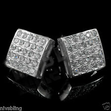 18k White Gold ICED OUT Silver Micropave Square Stud Hip Hop AAA CZ Earring 2S