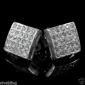 18k White Gold Out Iced Silver Micropave Square Stud Hip Hop AAA CZ Earring 2S